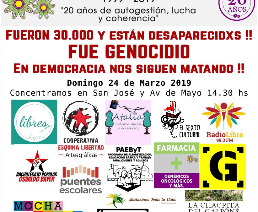 24 de marzo. A 43 años del golpe. Marchemos juntxs! ✊